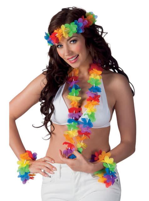 Adult's Multi-coloured Hawaiian Set