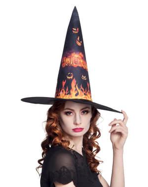 Chapéu de bruxa em chamas para mulher
