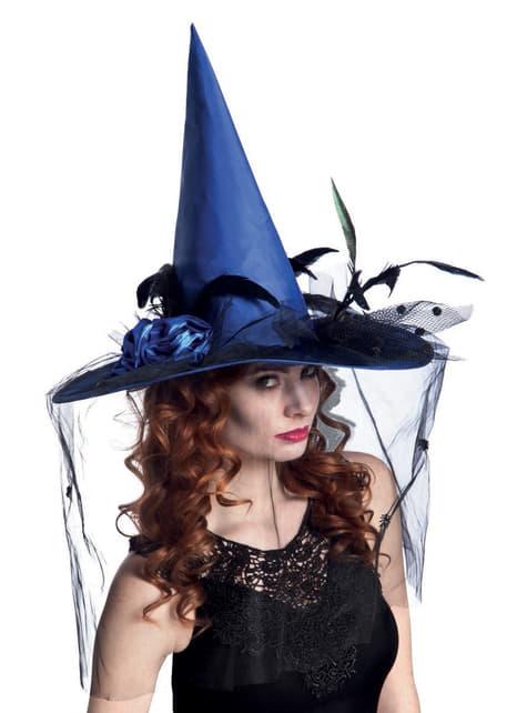 Sombrero de bruja azul con velo