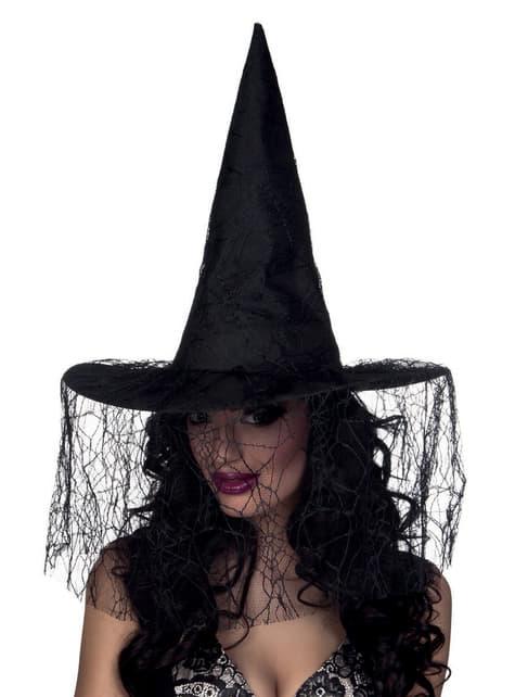 Sombrero de bruja negro con velo para mujer