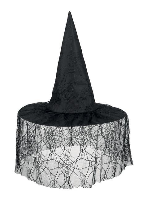 Sombrero de bruja negro con velo para mujer - para tu disfraz