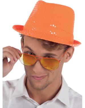 Oranje glitterhoed voor volwassenen