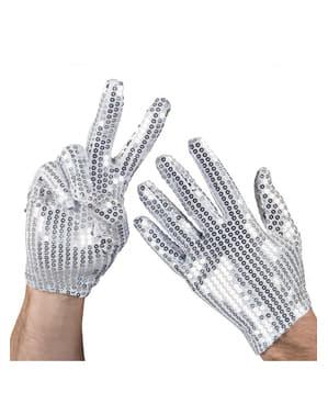 Handskar silver med paljetter