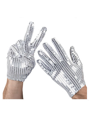 Silberne Handschuhe mit Pailleten