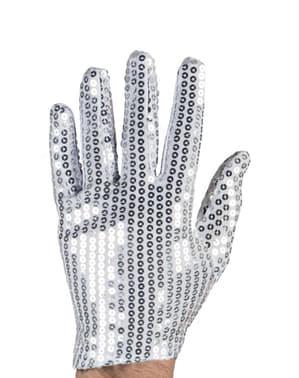 Sølvfarvede handsker med pailletter