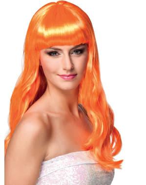 Pruik met pony oranje voor vrouw