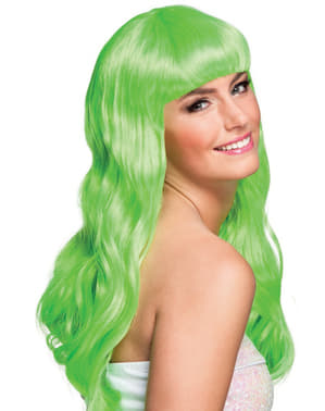 Peluca verde lima con flequillo para mujer