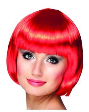 Krótka czerwona peruka damska