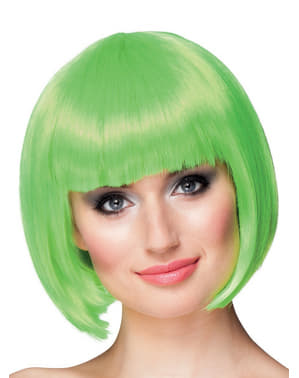 Peruca verde néon curta para mulher