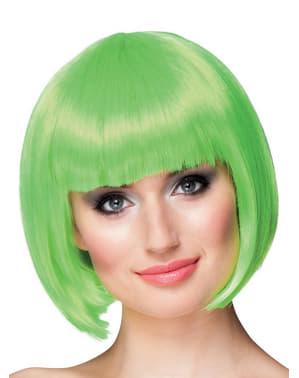 Korte neon groene pruik met vrouw