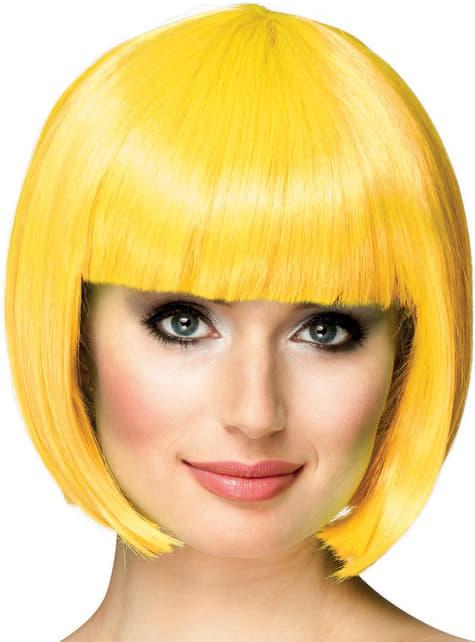 Peluca corta amarilla para mujer