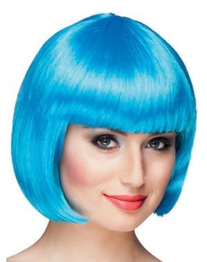 Peruca curta azul celeste para mulher