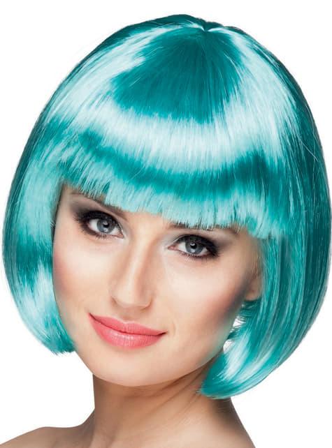 Peluca corta azul para mujer