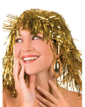 Goldene Perücke mit Glanz für Erwachsene