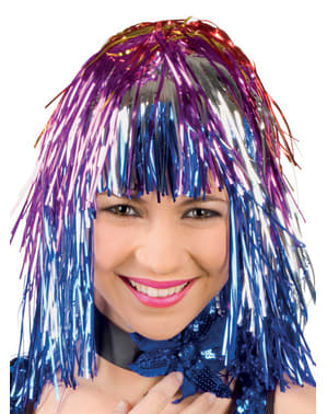 Adult's Festive Shiny Multi-coloured Wig
