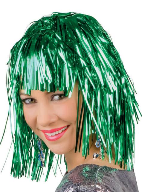 Peluca metálica verde para adulto