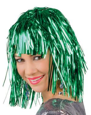 Pruik metallic groen voor volwassenen