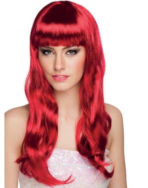 Pruik chique ruby rood voor vrouw