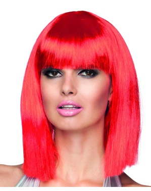 Neon rote Dance Perücke für Damen