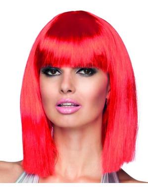 Pruik met pony neon rood voor vrouw