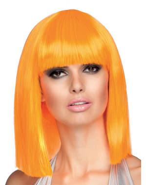 Peruk Dance orange i neon för henne
