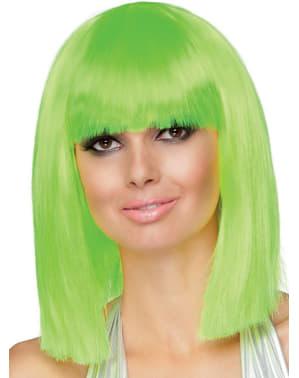 Peluca dance verde neón para mujer