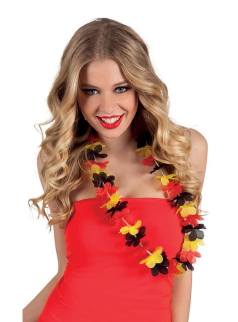 Collar hawaiano tricolor rojo, amarillo y negro