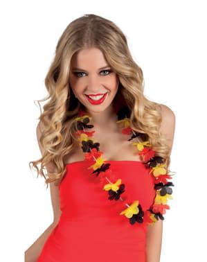 Colier hawaian tricolor roșu, galben și negru