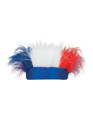 Sportovní čelenka s vlasy francouzská trikolora