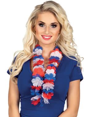 Collar hawaiano tricolor rojo, blanco y azul