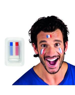Makeup tricolore blu, bianco e rosso