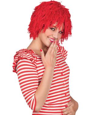 Parrucca da bambola di pezza rossa per donna