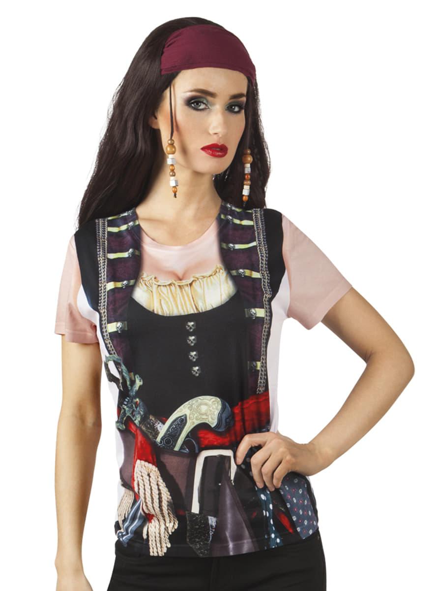 pirata mujer chica fotorealista de Camiseta para 0PHtf7