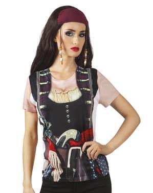 Camiseta fotorealista de chica pirata para mujer