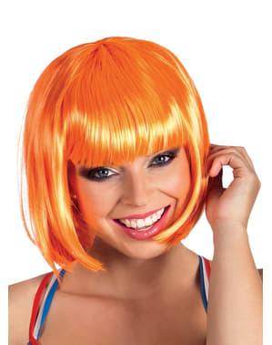 Naisten lyhyt kiiltävä oranssi peruukki