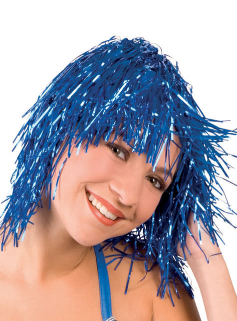 Peluca metálica azul para adulto
