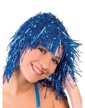 Pruik metallic blauw voor volwassenen