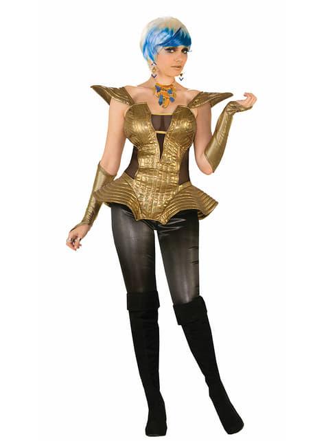 Corpete futurista dourado para mulher