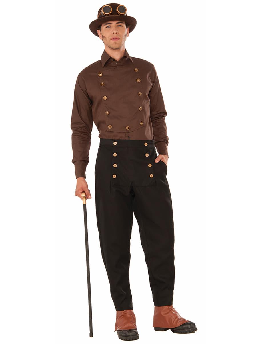 chemise marron steampunk homme les plus amusants funidelia. Black Bedroom Furniture Sets. Home Design Ideas