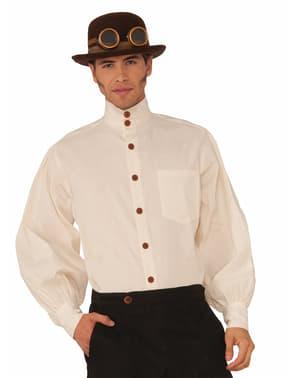 Мъжка бяла стимпанк риза