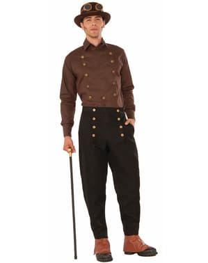 Calças pretas Steampunk para homem