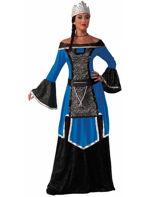 Disfraz de reina medieval elegante azul para mujer
