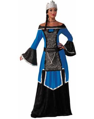Fato de rainha medieval azul para mulher
