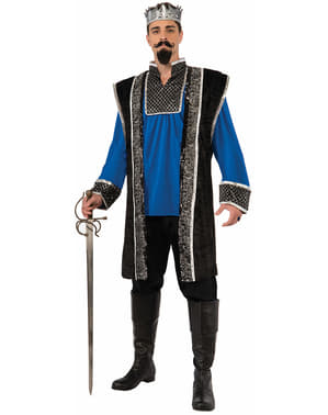 Kostuum middeleeuwse koning in blauw voor mannen