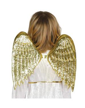 Asas de anjo douradas infantis