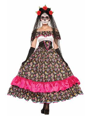 Fato de Catrina morte mexicana para mulher