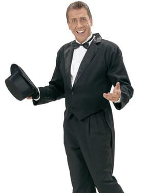 Frac negru cu guler din satin pentru bărbat