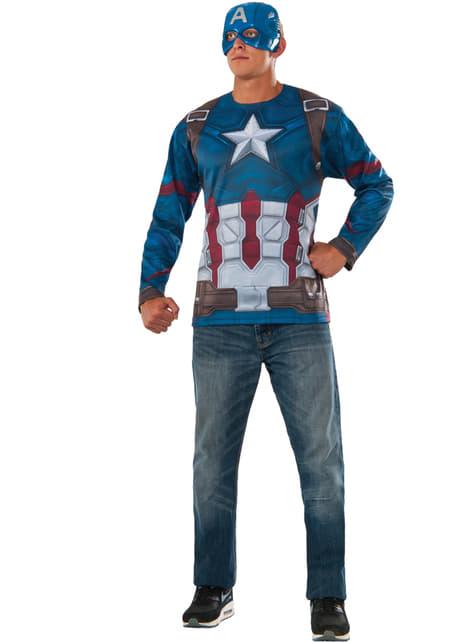 Kit fato de Capitão América: Guerra Civil para homem