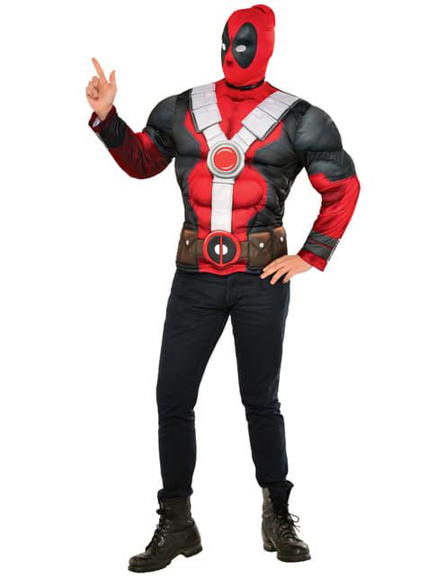 Kit fato de Deadpool musculoso para homem