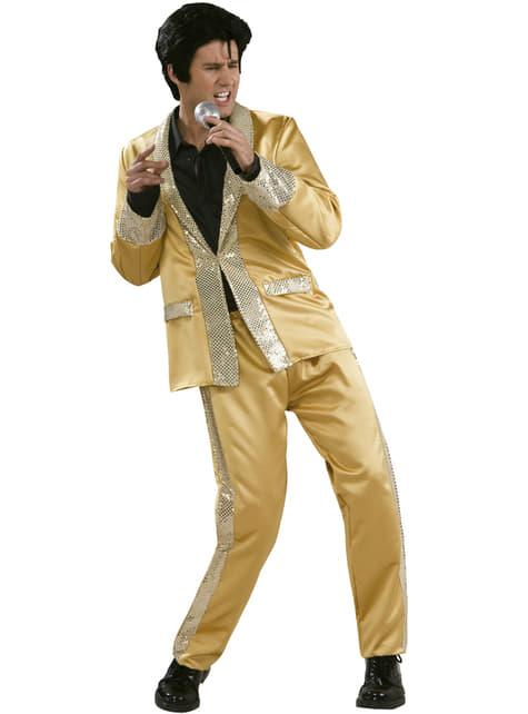 Elvis Kostüm deluxe golden für Herren
